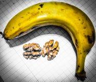 Foto av bananen och valnöten Arkivfoto