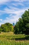 Foto av blåttkyrkan mellan gröna träd Arkivbild