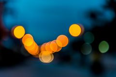 Foto av bokehljus på blå bakgrund Royaltyfri Fotografi