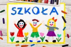 Foto av den färgrika teckningen: Polskt ord SKOLA vektor illustrationer