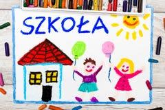 Foto av den färgrika teckningen: Polskt ord SKOLA, stock illustrationer