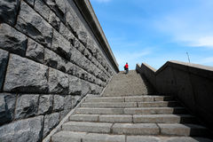 Foto av den gamla kraftiga trappuppgången Fotografering för Bildbyråer