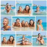 Foto av den lyckliga familjen på stranden Arkivbild