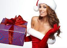 Foto av den santa julflickan arkivfoton