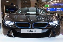 Foto av den svarta bilen för innovation för BMW serie i8 Royaltyfri Bild