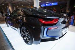 Foto av den svarta bilen för innovation för BMW serie i8 Royaltyfri Fotografi