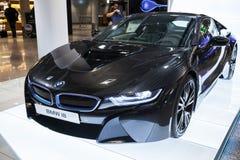 Foto av den svarta bilen för innovation för BMW serie i8 Royaltyfria Bilder