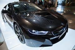 Foto av den svarta bilen för innovation för BMW serie i8 Arkivbilder