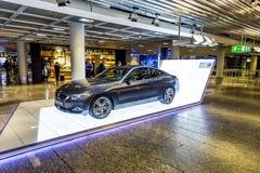 Foto av den svarta bilen för innovation för BMW serie i4 Arkivfoto