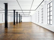 Foto av den tomma museuminre i modern byggnad Öppet utrymmevind vita tomma väggar Wood golv, svarta strålar som är stora Royaltyfria Bilder