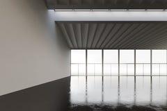 Foto av den tomma utrymmehangaren i modern byggnad Tom inre vindstil med det konkreta golvet, panorama- fönster Abstrakt begrepp Arkivfoto