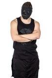 Foto av den unga mannen i svart maskering Royaltyfria Bilder