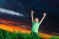 Foto av den unga pojken som lyfter händer Fotografering för Bildbyråer