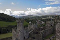 Conwy slott, norr Wales, United Kingdom Arkivfoton