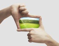 Foto av det gröna fältet i händer arkivbild