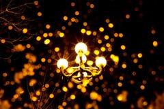 Foto av en antik lykta med gult ljus och strålar på natten arkivbild