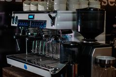 Foto av en espressomaskin royaltyfri fotografi