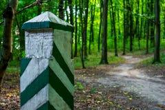 Foto av en gammal gränsstolpe i en grön skog Arkivfoto