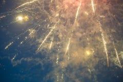 Foto av fyrverkerier för ` s för nytt år i himmel Arkivbilder