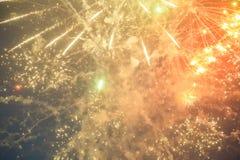 Foto av fyrverkerier för ` s för nytt år i himmel Arkivfoton