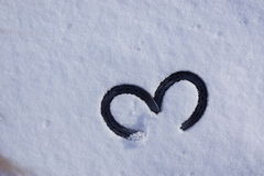 Foto av hästsko 2 på snö Fotografering för Bildbyråer