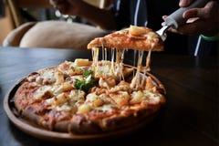 Foto av hawaiansk pizza skivad pizza royaltyfri fotografi