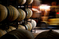 Foto av historiska vinfat i vinodlingkällare med gaffeltrucken Arkivfoto