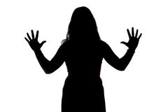 Foto av kvinnas kontur med öppna händer Arkivfoton