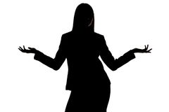 Foto av kvinnas kontur med öppna händer Royaltyfri Fotografi