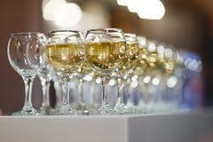 Foto av många vinexponeringsglas arkivfoto