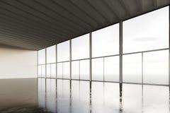 Foto av modern byggnad för tomt öppet utrymmerum Tom inre vindstil med det konkreta golvet, panorama- fönster Abstrakt begrepp Royaltyfri Foto