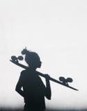 Foto av skuggor av flickan med en skateboard arkivfoto