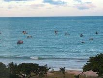 Foto av strandsolnedgången och fartyg royaltyfria foton