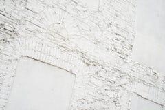 Foto av tom bakgrund för abstrakt tappning Gammal vit målad textur för tegelstenvägg Vit tvättad brickwallyttersida Arkivfoton