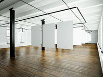Foto av vindinre i modern byggnad Öppet utrymmestudio Tomt vitt hänga för kanfas Wood golv, tegelstenvägg royaltyfri bild