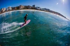 Foto Balito del agua de la muchacha de Surfin Imagen de archivo libre de regalías