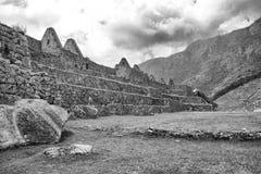 Foto bianca e nera di area principale Machu Picchu fotografia stock libera da diritti