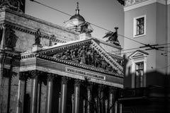 Foto in bianco e nero del tempio e della scultura Immagini Stock