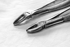 Foto in bianco e nero di attrezzatura dentaria Immagine Stock