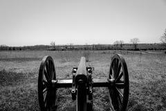 Foto in bianco e nero di Gettysburg di vecchio cannone Immagini Stock Libere da Diritti