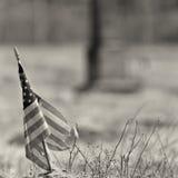 Foto in bianco e nero di una bandiera americana consumata Immagine Stock Libera da Diritti