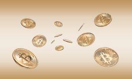 Foto Bitcoins de oro Imágenes de archivo libres de regalías