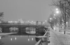 Foto blanco y negro del invierno de árboles en el banco de un río, de un puente y del castillo de Praga en el fondo imagen de archivo