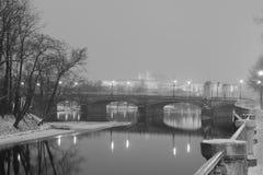 Foto blanco y negro del invierno de árboles en el banco de un río, de un puente y del castillo de Praga en el fondo foto de archivo