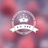 Foto borrosa rosada como fondo con el logotipo de la princesa Imagen de archivo