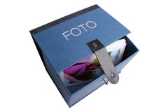 Foto-box. Blue box for foto collections Royalty Free Stock Image