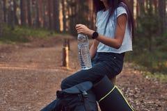 A foto colhida de uma menina do moderno do turista guarda uma garrafa da água, parada para descansar em uma floresta bonita do ou imagens de stock