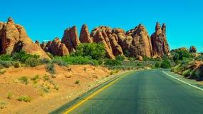 Foto común de la formación de roca roja, parque nacional de los arcos Foto de archivo