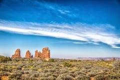 Foto común de la formación de roca roja, parque nacional de los arcos Fotos de archivo libres de regalías
