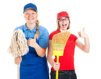Foto común de los trabajadores adolescentes - pulgares para arriba Fotos de archivo libres de regalías